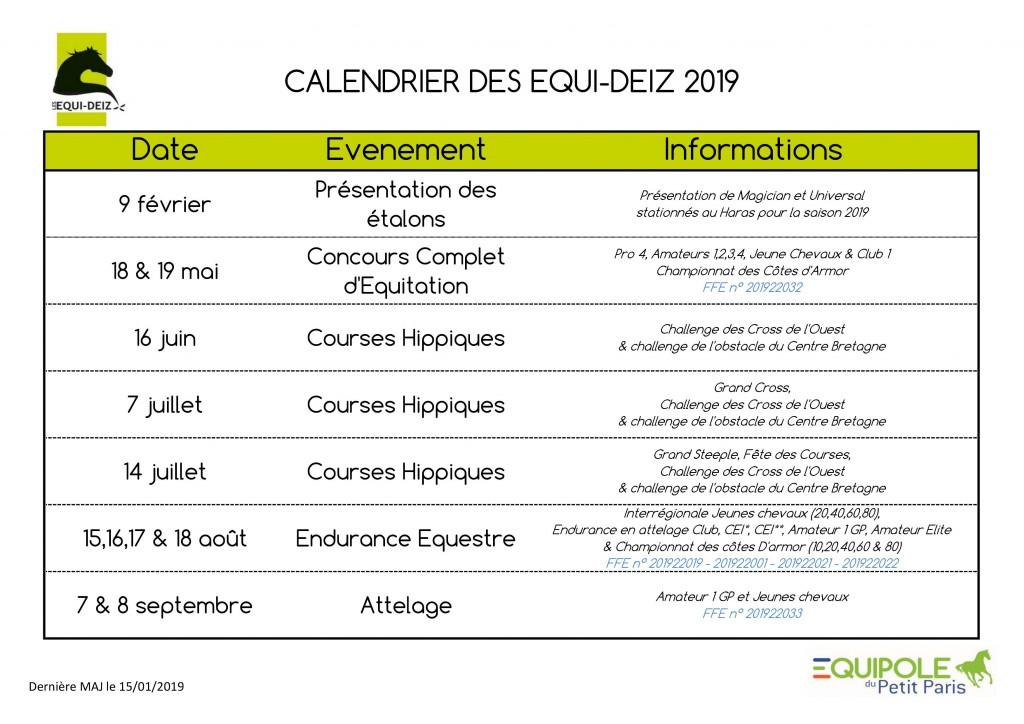 Calendrier 2019 15-01-2019